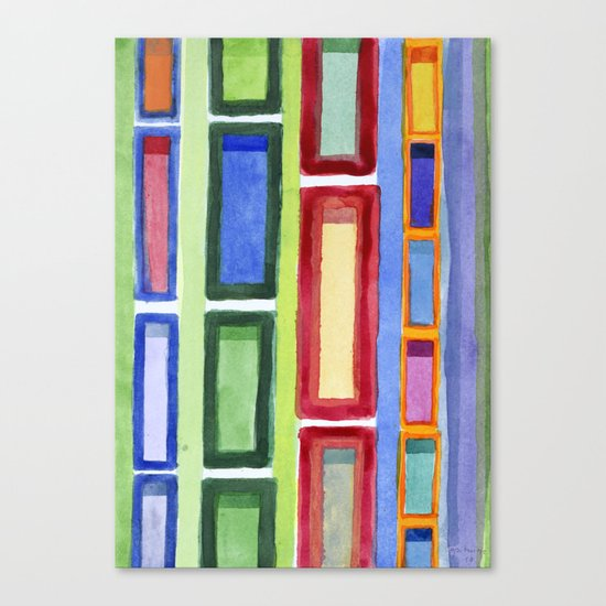 Narrow Frames in Vertical Rows Pattern Canvas Print