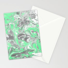 Light green and gray Marble texture acrylic paint art Stationery Cards