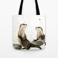 otters Tote Bags featuring Otters by Priscilla George