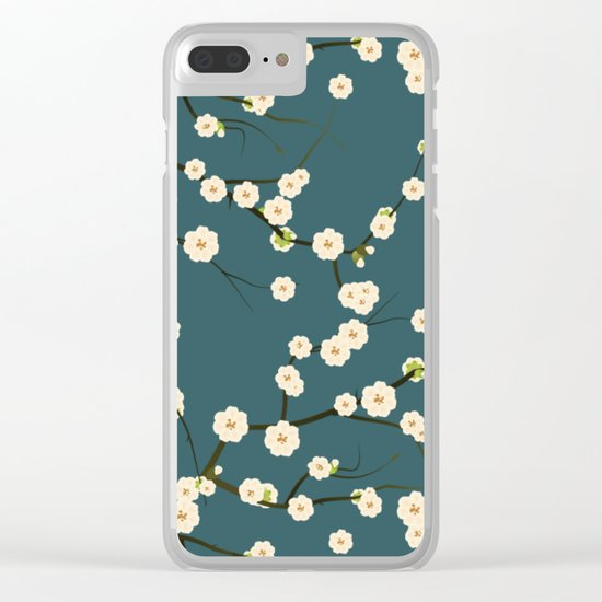 Cherry Blossoms on Blue Background Clear iPhone Case