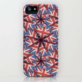 Heart Shaped England Flag Pattern Design iPhone Case