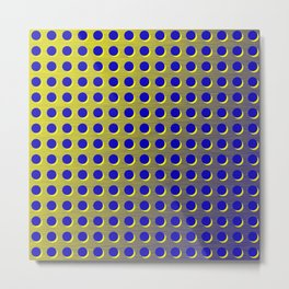 Blue and yellow brushed metal with holes Metal Print