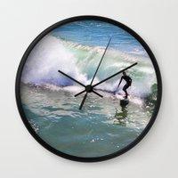 surfer Wall Clocks featuring Surfer by Sam Cockayne