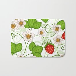 Strawberry fruit leaf flower floral star green red white Bath Mat