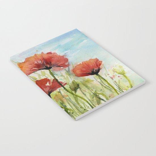 Red Flowers Watercolor Landscape Poppies Poppy Field Notebook