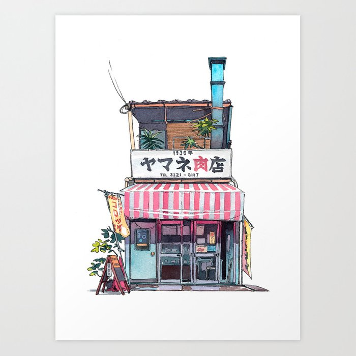 Tokyo storefront 01 art print by mattjabbar society6 for Printing architectural drawings