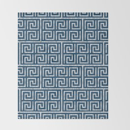 Oriental Symbol (Blue & Silver) Throw Blanket