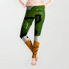 Mid Century Modern Abstract Colorful Art Patterns Olive Green Yellow Ochre Orbit Geometric Objects Leggings