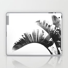 Palm leaves black and white tropical watercolor Laptop & iPad Skin