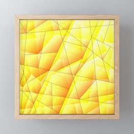 Abstract pattern of yellow and glowing plates of triangles and irregularly shaped lines. Framed Mini Art Print
