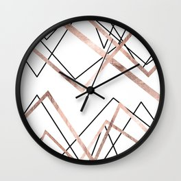 Rose Gold White Linear Triangle Abstract Pattern Wall Clock