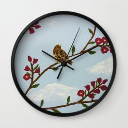 Robin on Plumb Tree Wall Clock
