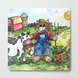 Farmer Fluffy at Harvest Time Metal Print