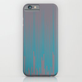 Aqua Blue and Gray Frequency Line Art Pattern 2021 Color of the Year AI Aqua and Good Gray iPhone Case