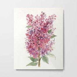 Pink Lilacs Floral Watercolor Garden Flower Nature Art Metal Print