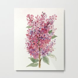 Pink Lilacs Floral Watercolor Garden Flower Nature Art Metal Print