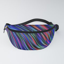 BRITE flowing rainbow colours on black background Fanny Pack
