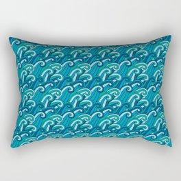 Stylized Blue Ocean Waves Rectangular Pillow