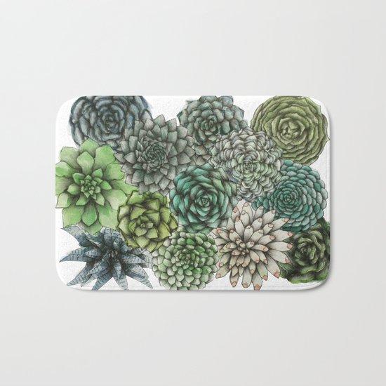 An Assortment of Succulents Bath Mat