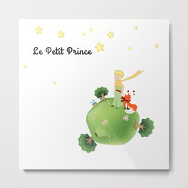 The Little Prince, with the fox and planet Metal Print