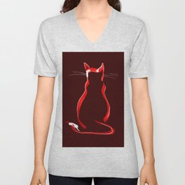 Sitting Cat from behind in Claret Unisex V-Neck