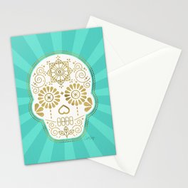 Día de Muertos Calavera • Mexican Sugar Skull – Turquoise & Gold Palette Stationery Cards