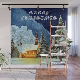 Merry Christmas Greeting Card Wall Mural
