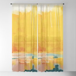 sunny landscape Sheer Curtain