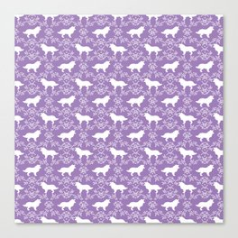 Border Collie silhouette minimal floral florals dog breed pet pattern purple and white Canvas Print