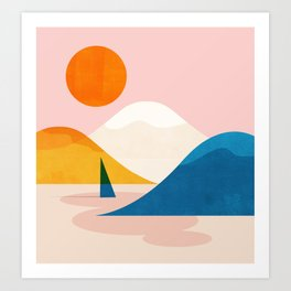 Abstraction_Lake_Sunset_Minimalism_002 Art Print