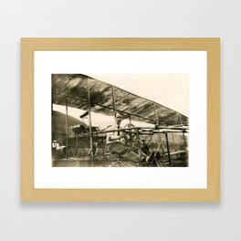 Glenn Curtiss in His Bi-Plane Framed Art Print