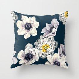White Flower Rain Throw Pillow