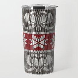 Ugly knitted Hearts Travel Mug