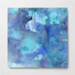 Blue Abstract Watercolor Painting Metal Print