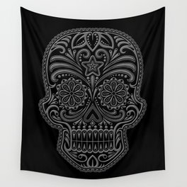 Intricate Gray and Black Day of the Dead Sugar Skull Wall Tapestry