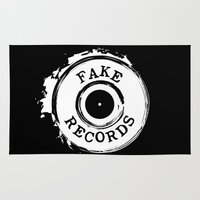 records Area & Throw Rugs featuring Fake Records by MADMEDIUM