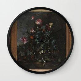 Matthias Withoos - IJsvogel en hagedissen met bloeiende planten in een landschap Wall Clock