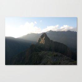 Sun setting on Machu Picchu and Huayna Picchu Canvas Print