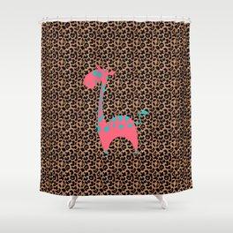 Cartoon Giraffe in Leopard Space  Shower Curtain