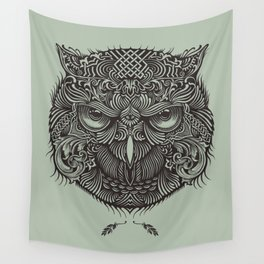 Warrior Owl Face Wall Tapestry