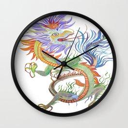 Bright and Vivid Chinese Fire Dragon Vector Wall Clock