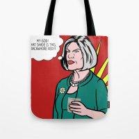 lichtenstein Tote Bags featuring Malory Archer Lichtenstein by turantuluy