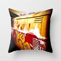 volkswagen Throw Pillows featuring Volkswagen 99 by Justin Alan Casey