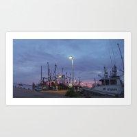 The Sun Sets over Boats  Art Print