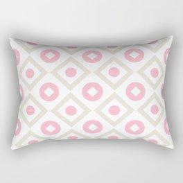 Pink pastel pattern of rhombuses and circles Rectangular Pillow