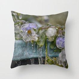 Pansies on Ice Throw Pillow