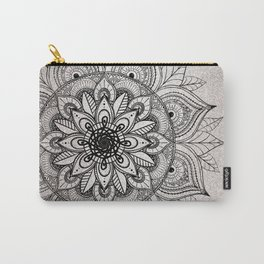 Elegant faux silver glitter black henna mandala Carry-All Pouch