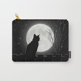 Silent Night Cat and full moon Carry-All Pouch