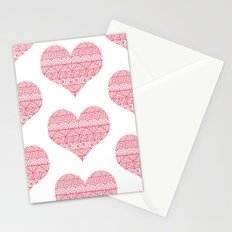 Patterned Hearts Pattern Stationery Cards