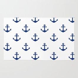Sea blue Anchor Pattern Rug
